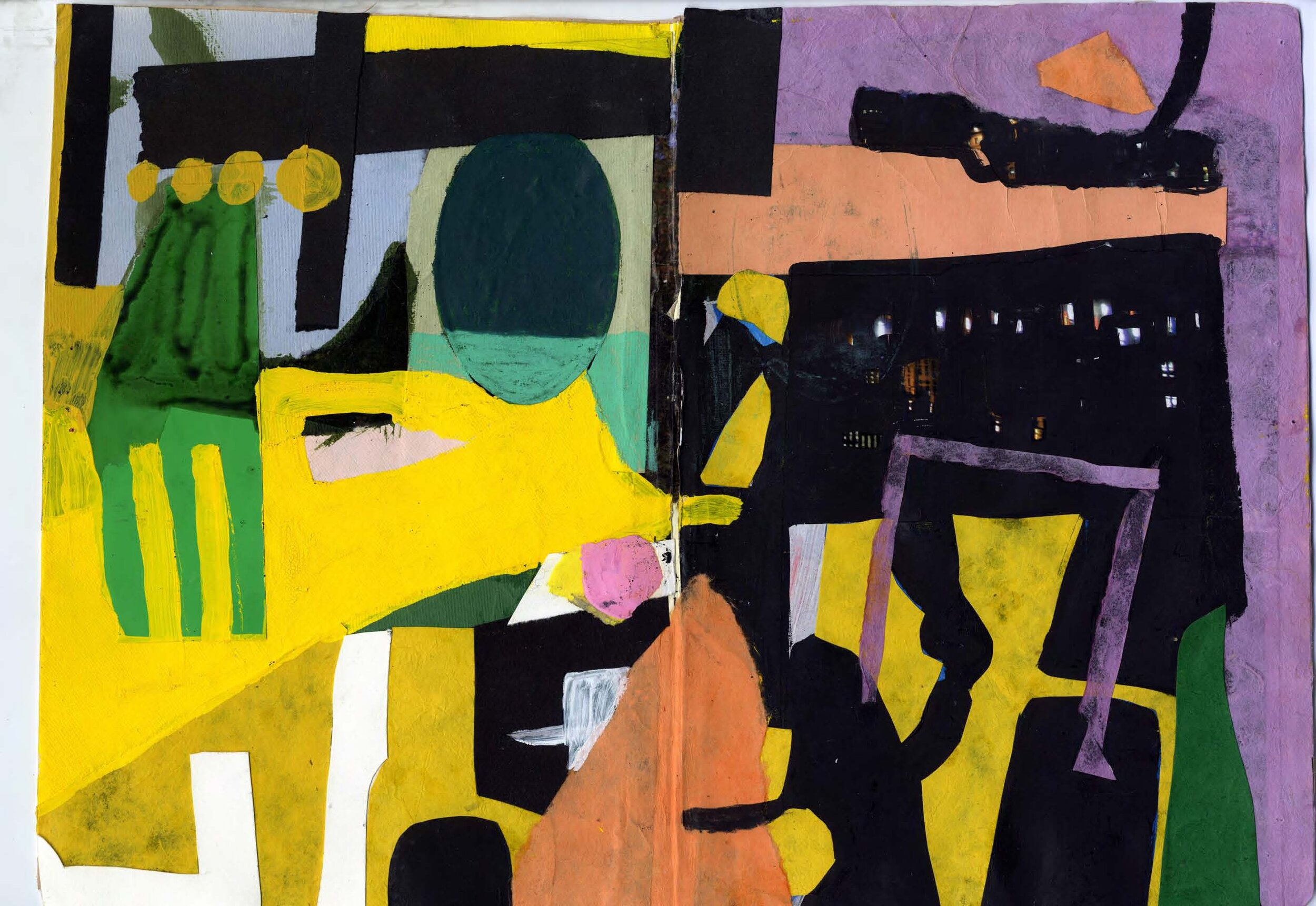 """""""Dog taxi""""  Gouache, acrylic and paper on paper  11.5 X 16.5 """"  2014"""