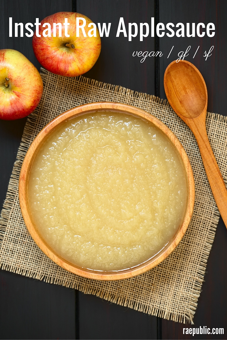 Easy vegan instant raw applesauce made with only apples and water. Seriously that's it. For real.