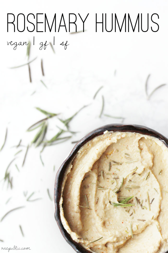 Easy, vegan rosemary hummus with a kiss of garlic. Gluten-free and sugar-free so all can enjoy this creamy delicious plant-based dip!