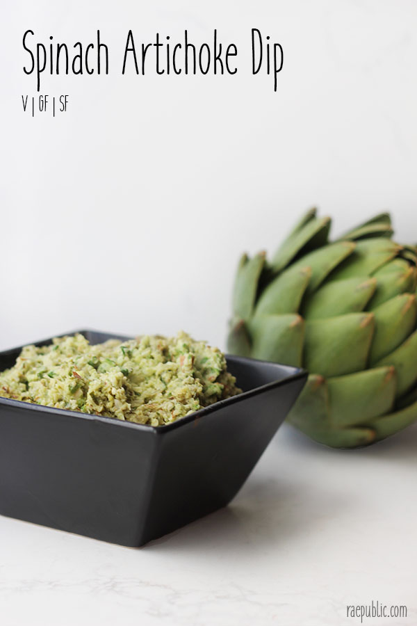 Fresh and easy spinach artichoke dip that is dairy-free and naturally gluten-free. This vegan dip is so delicious and versatile, use it as a dip or a spread.