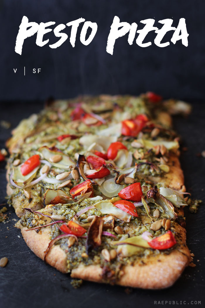 Easy plant based vegan pesto pizza that is so easy to make it might just become a weekly meal! Yum!