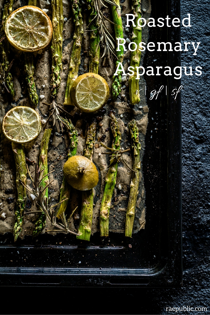 Easy and delicious roasted rosemary asparagus that is vegan and gluten free.