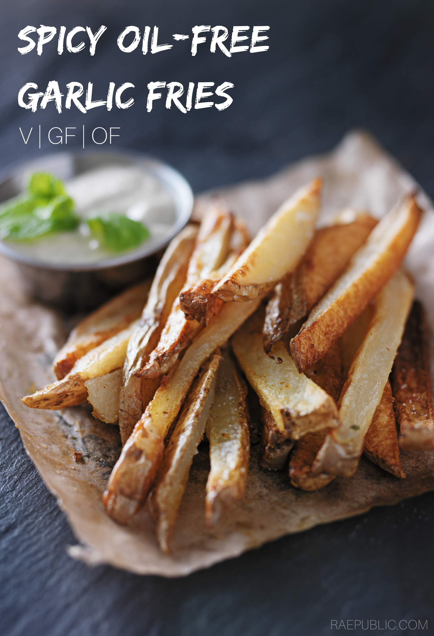 Spicy Garlic Fries that are oil free, vegan and gluten free so all can eat! They are so tasty with the right amount of crip you'll want to make them every day!