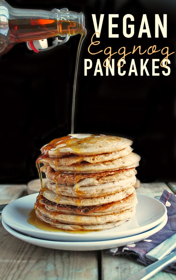 Vegan holiday nog pancakes that are so good!
