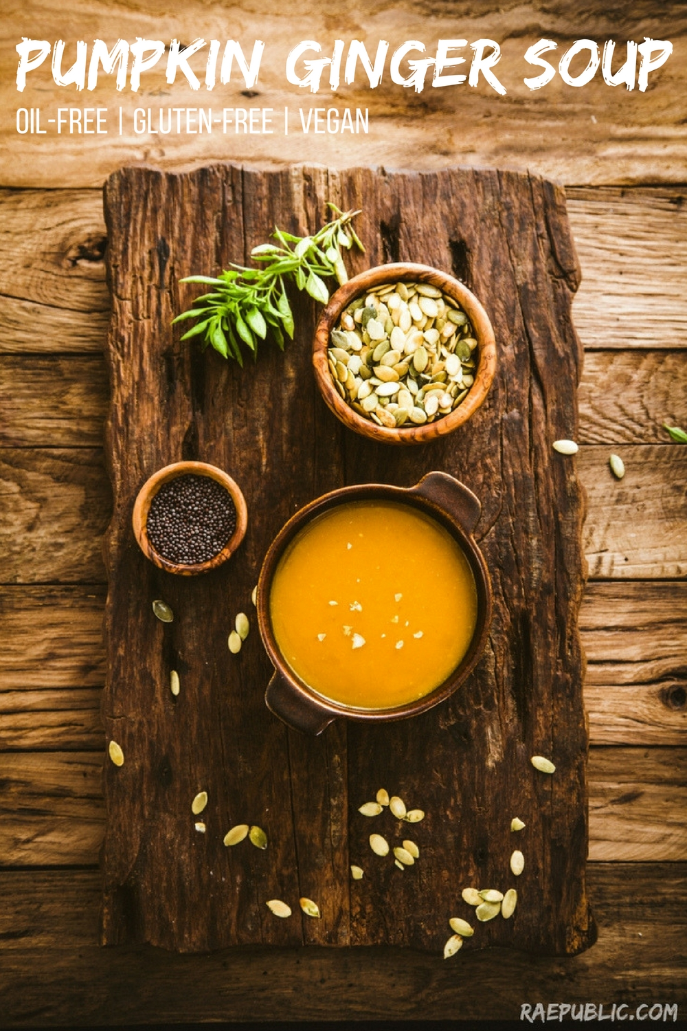 The best, vegan pumpkin ginger soup. It's also egg free and gluten free.