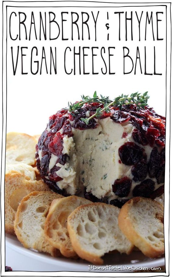 The best damn cranberry and thyme vegan cheese ball! Perfect for any party or gathering!