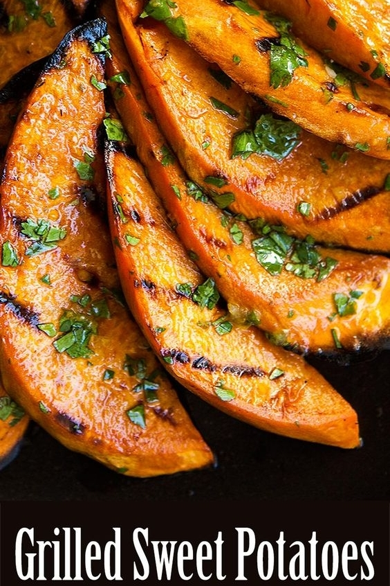GRILLED SWEET POTATOES - Delicious sweet potatoes, sliced and grilled. This recipe also includes a mouth-watering vegan cilantro dressing.