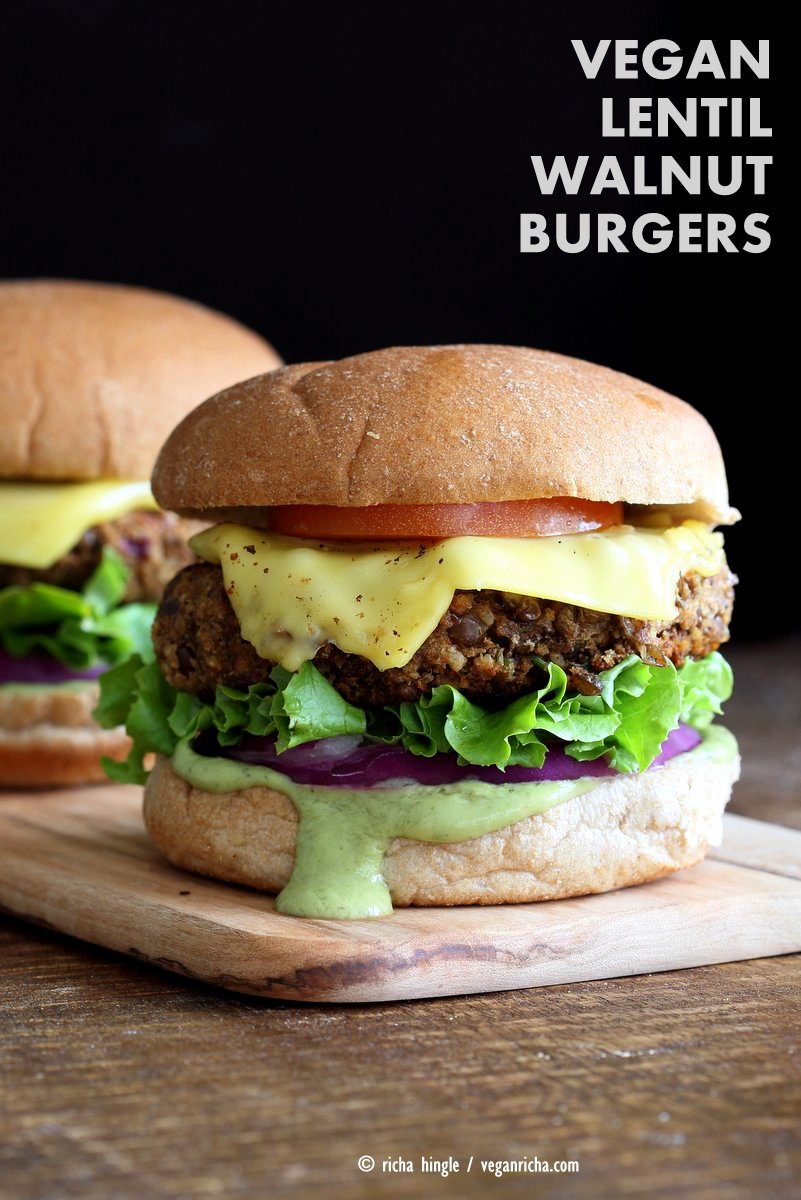 LENTIL WALNUT BURGER - These magnificent veggie burgers are vegan, soy-free and gluten-free so every single wonderful person can enjoy! And man! Don't they just look mouth-watering.