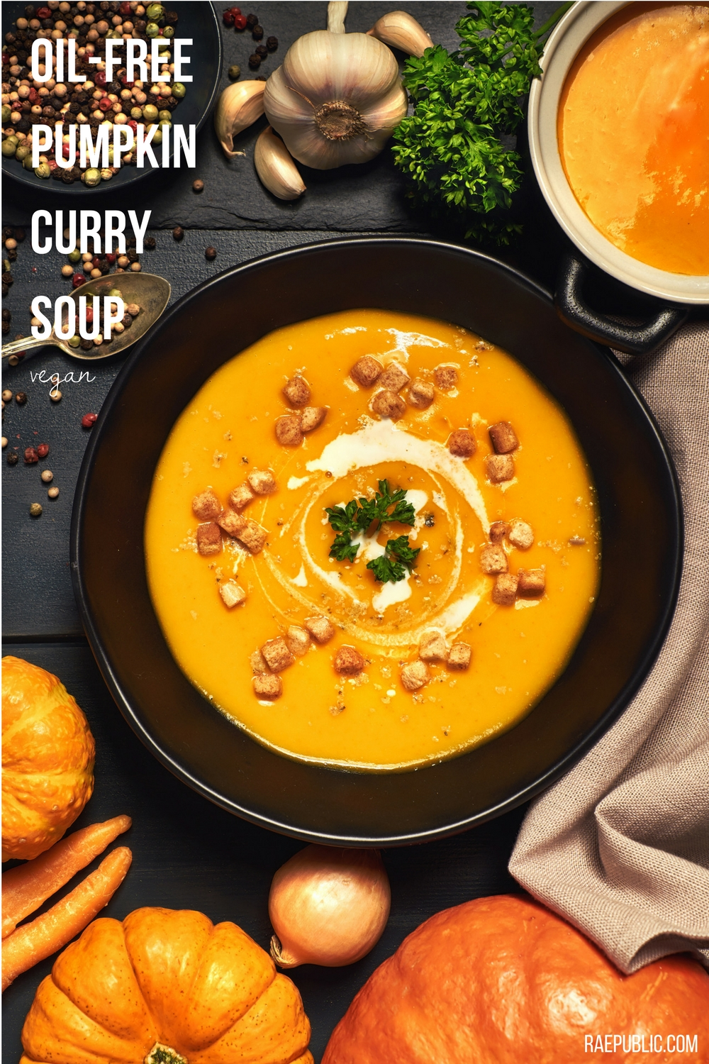 Easy oil free pumpkin soup that is dairy free and naturally gluten free. Made with organic pumpkin puree and full fat coconut milk.