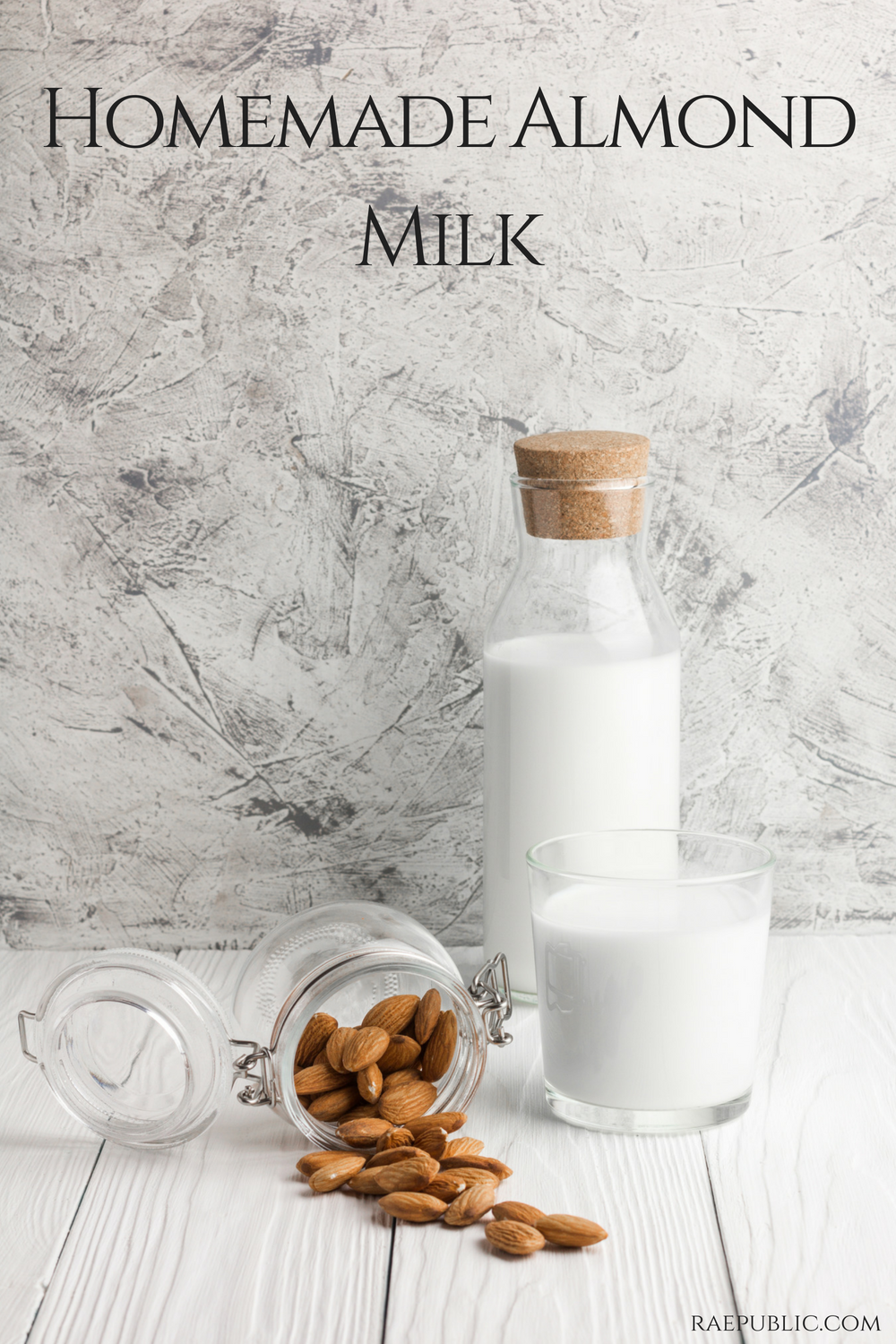 Easy homemade almond milk that is naturally vegan and gluten free and has no added sugar.