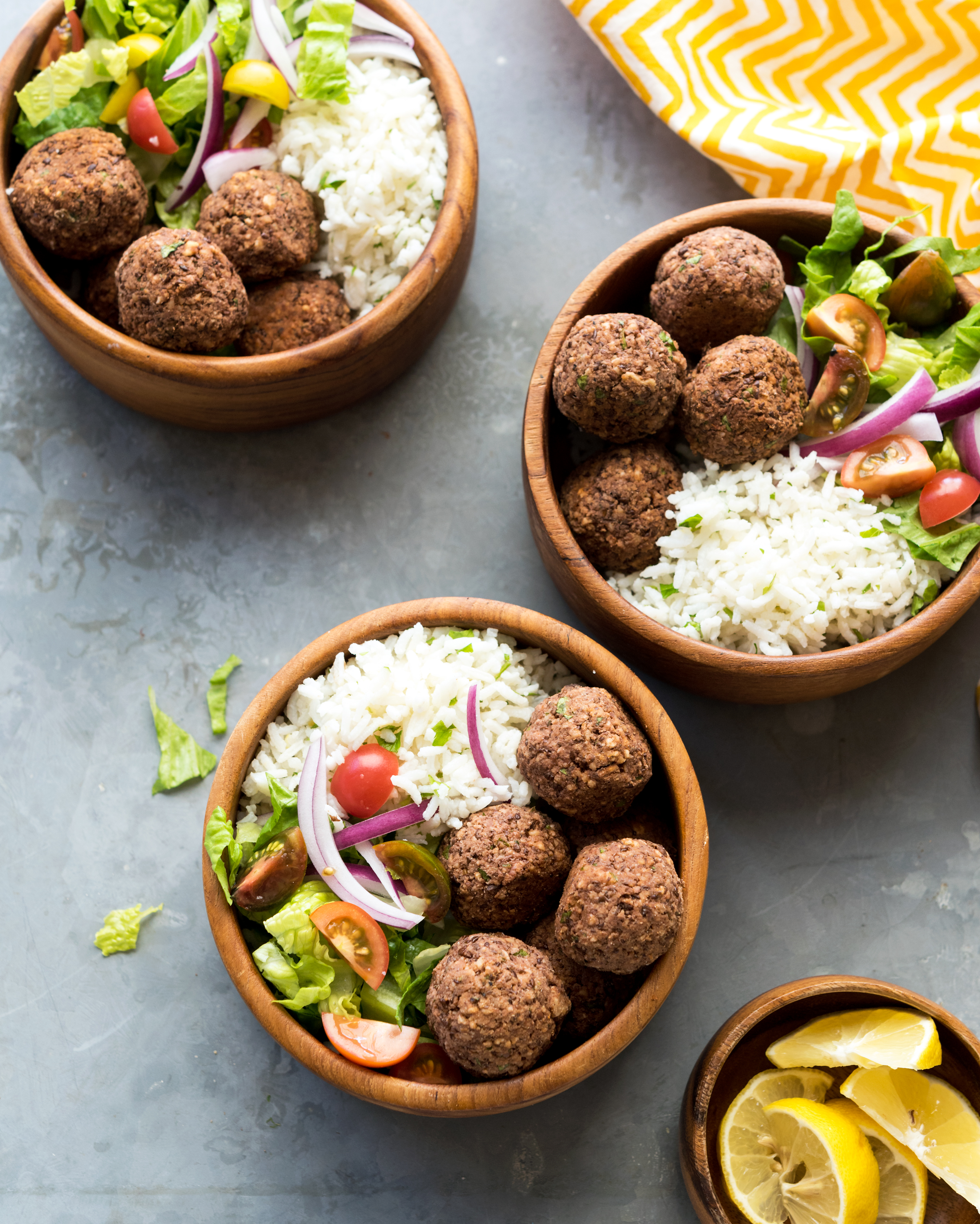 Delicious vegan lentil balls served with zesty rice. It is gluten-free, dairy-free, oil-free, and refined sugar free.
