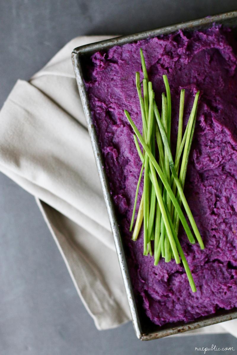 Savory Vegan Mashed Purple Sweet Potato