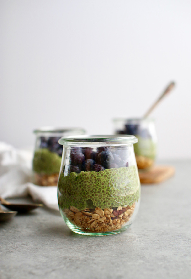 Easy matcha chia seed pudding made with almond milk so it's dairy-free and vegan.