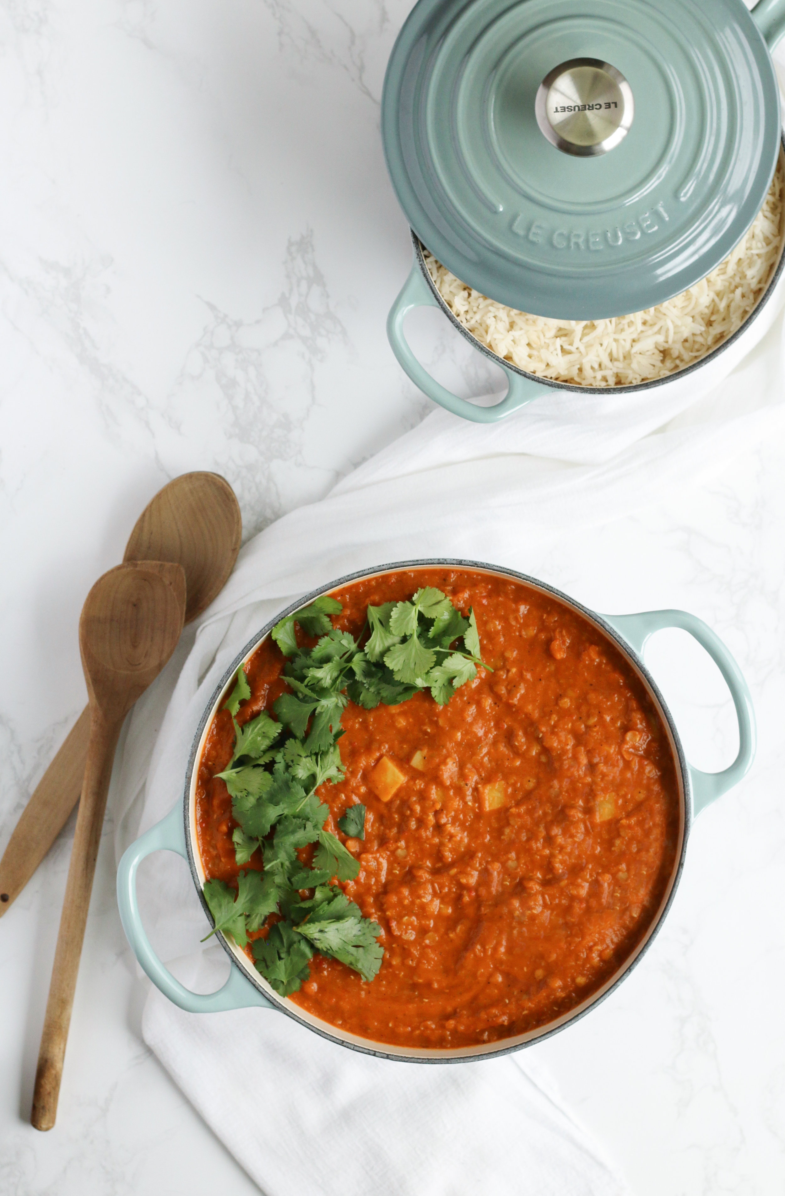 Creamy Vegan Red Dal made with lentils, coconut milk, and spices galore so it's packed with plant-based protein and healthy fats.