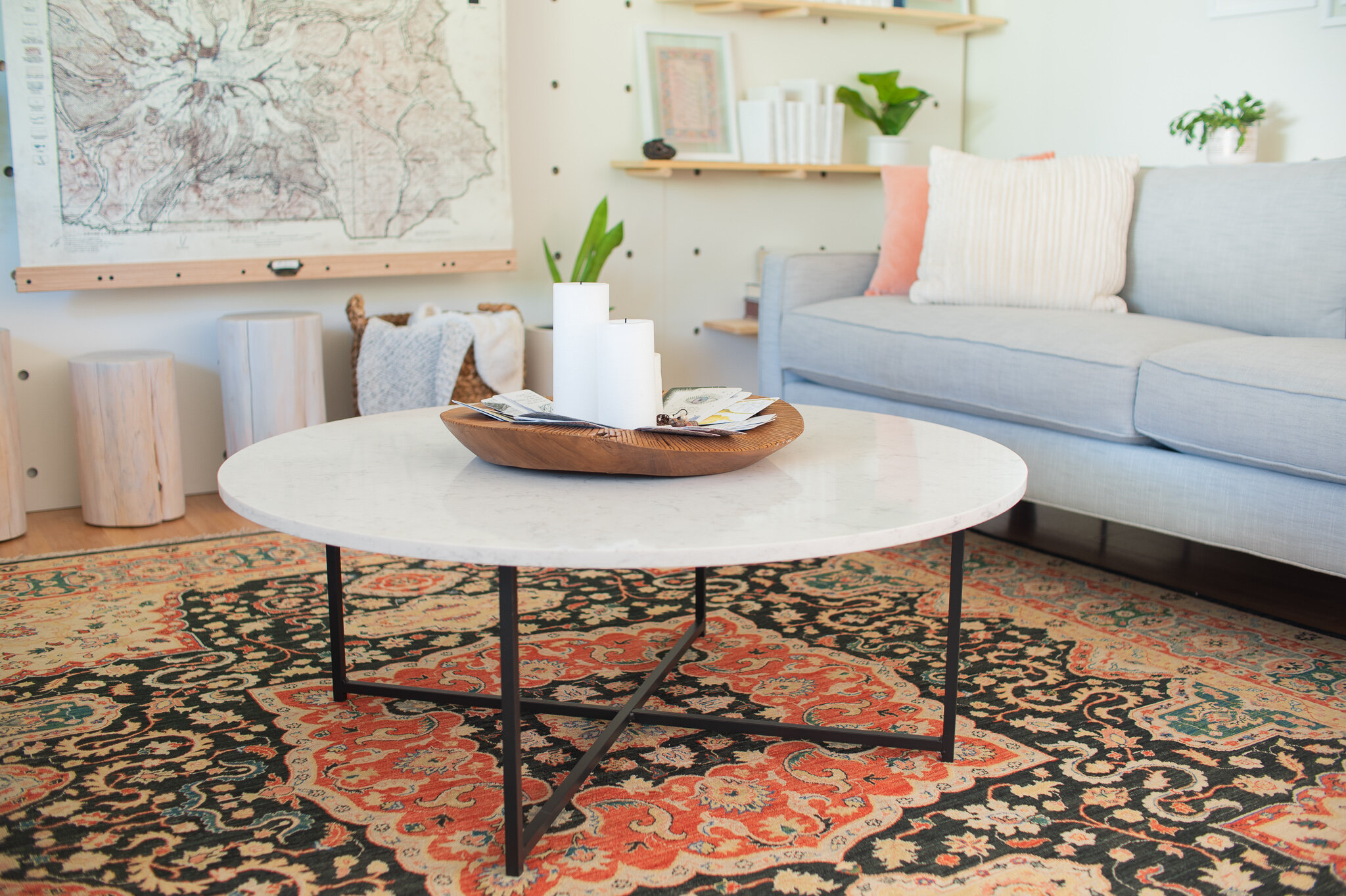 Furniture made from real materials such as wood, metal, or stone is the way to go. They last longer and don't off-gas nasty toxins in our home.