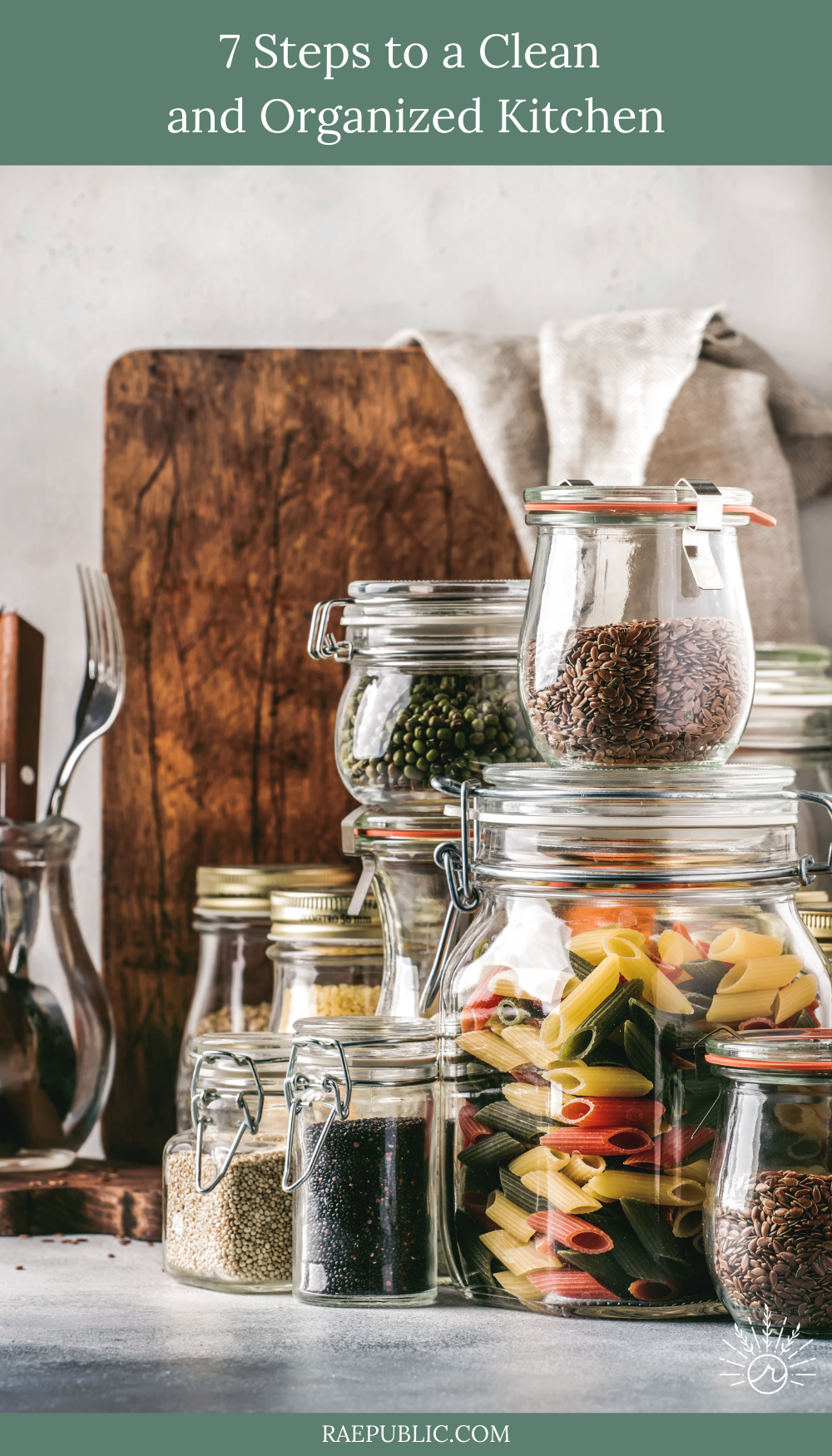 Seven easy steps to a clean and organized kitchen to be more productive and get more done.