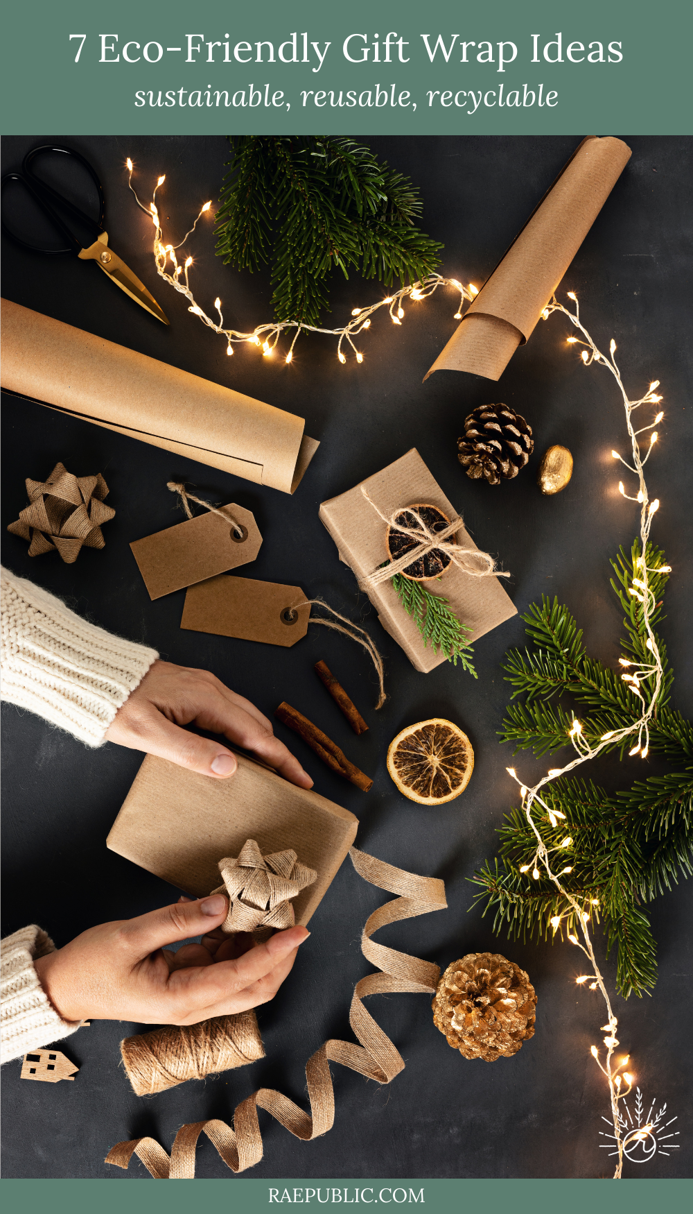 Wrapping paper, tissue paper, ribbon, bows, and gift bags are not recyclable. There are plenty of great sustainable, reusable, and recyclable wrapping paper options that are inexpensive and just gorgeous.