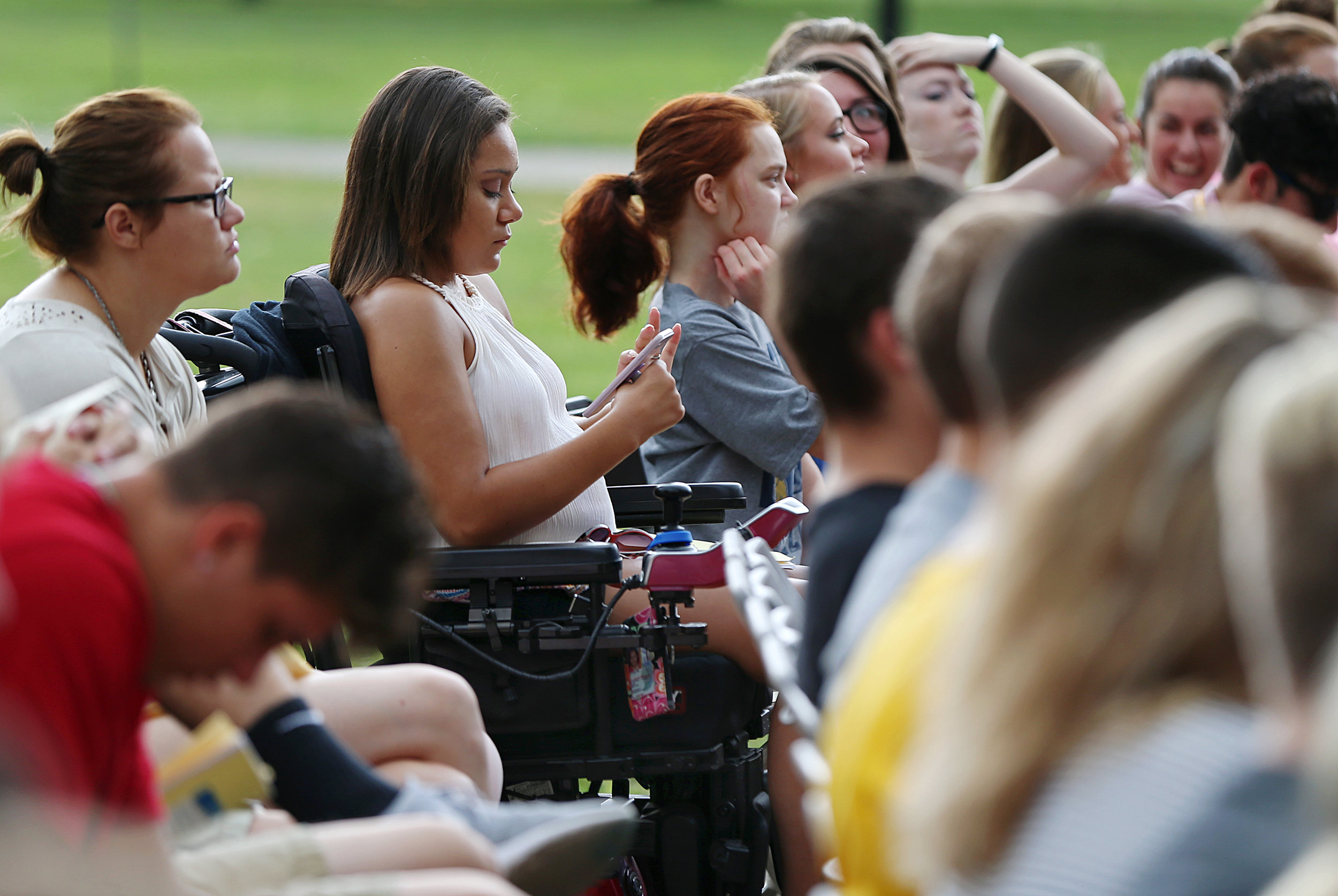 Huff waits for the annual bell ceremony to begin at Franklin College on the final day of freshmen orientation week. Huff says she misses the tight social circle and support system that she had at Ben Davis High School, but likes the independent nature of college.