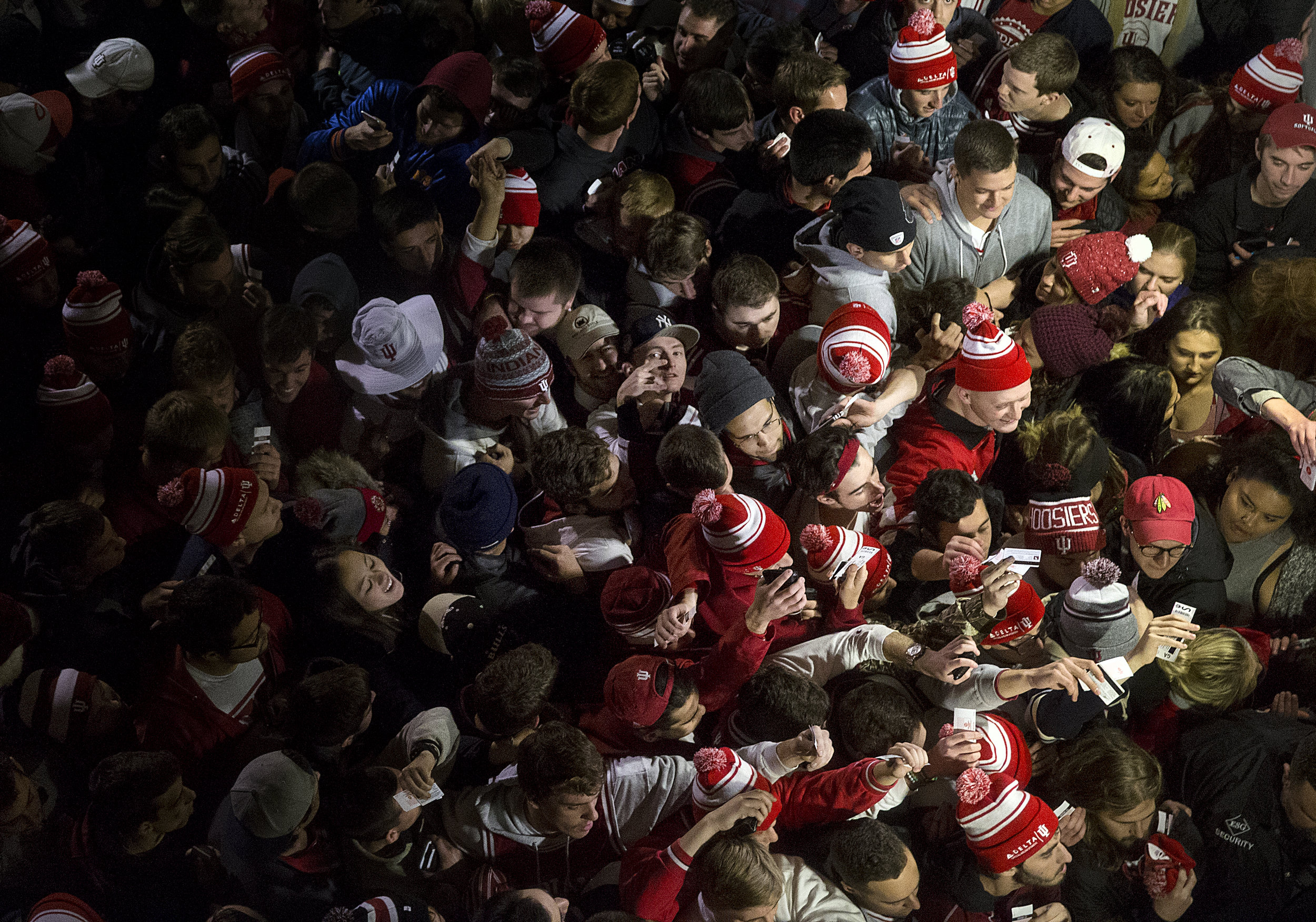 Members of the student section crowd the entrance before the game between the Indiana Hoosiers and the North Carolina Tar Heels at Assembly Hall, Bloomington, Ind., Wednesday, Nov. 30, 2016.