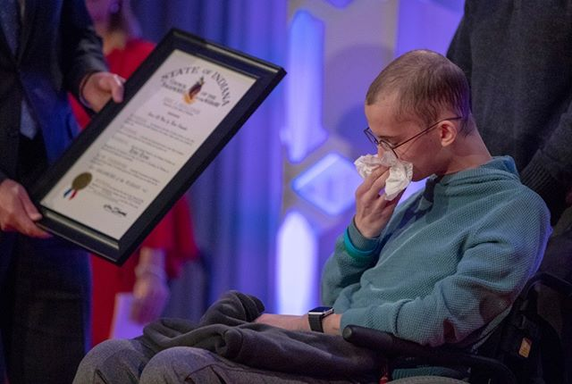 "Tyler Trent wipes tears as he is presented with the Sagamore of the Wabash at a fundraiser luncheon for Riley Children's Foundation's Be The Hope Now campaign on Wednesday. . Trent, who grew up in Carmel and has fought multiple battles against cancer, tweeted his thanks to Gov. Eric Holcomb on Wednesday for choosing him as one of the latest recipients of the Sagamore of the Wabash award. ""I feel undeserving to be included amongst the amazing list of other incredible previous recipients,"" Trent said. (Follow the photographer  @bobscheer)"