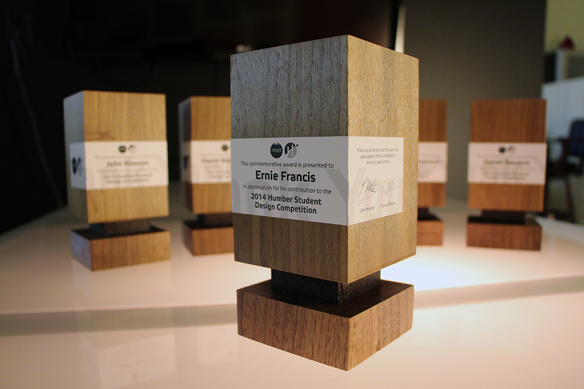 Custom designed and hand-crafted awards for the Humber Student Design Competition