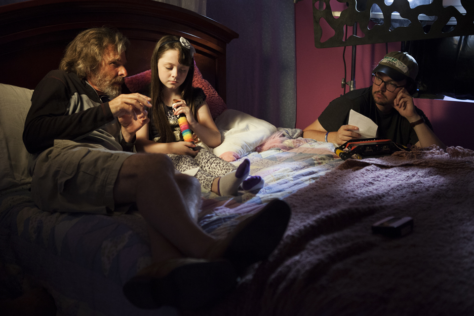 Joseph Bottoms, Kitana Turnbull, and Christiano Dias on the set of  Monster in a House .