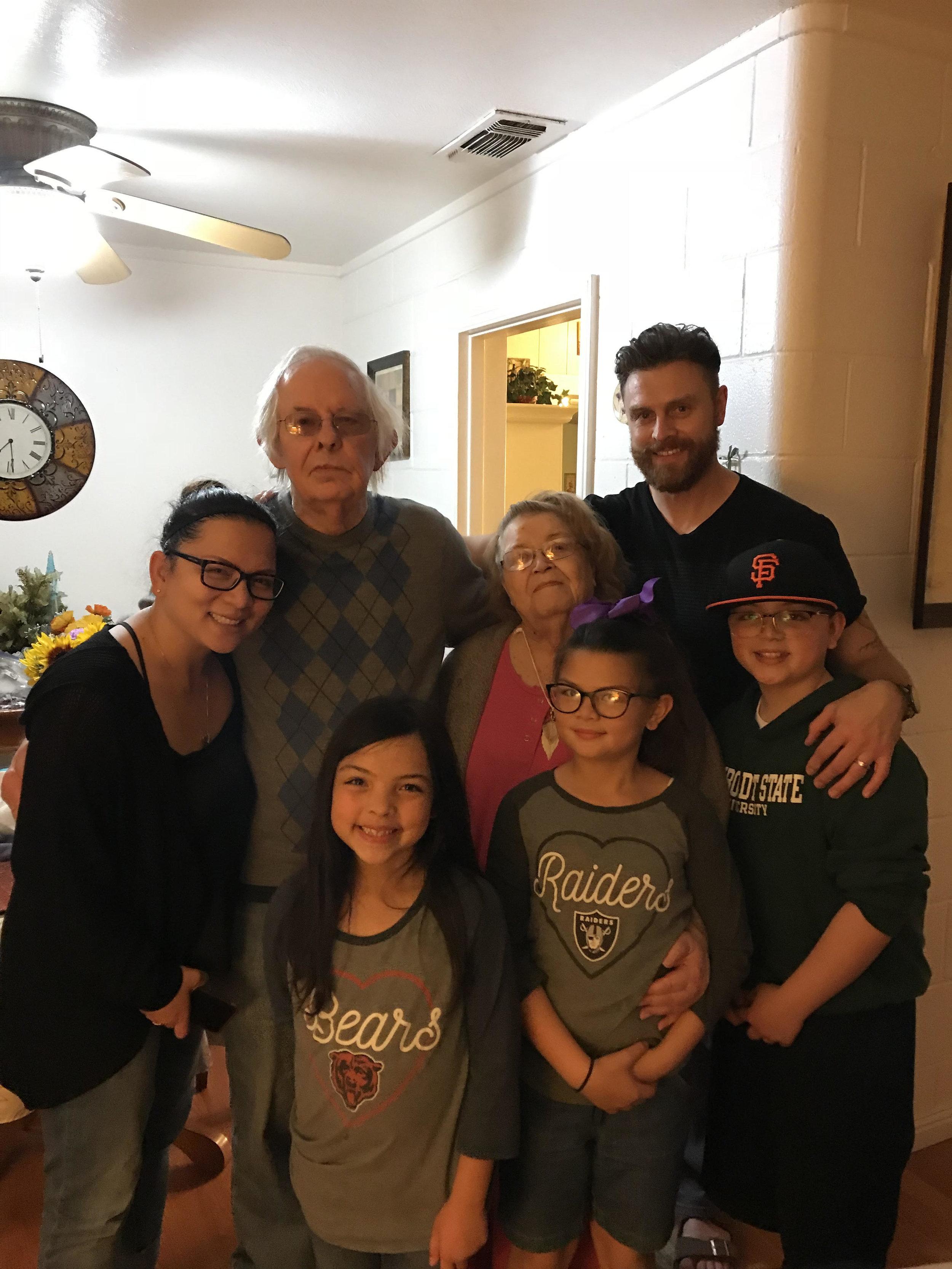 My wife, my grandfather, my grandmother, myself and my three children.