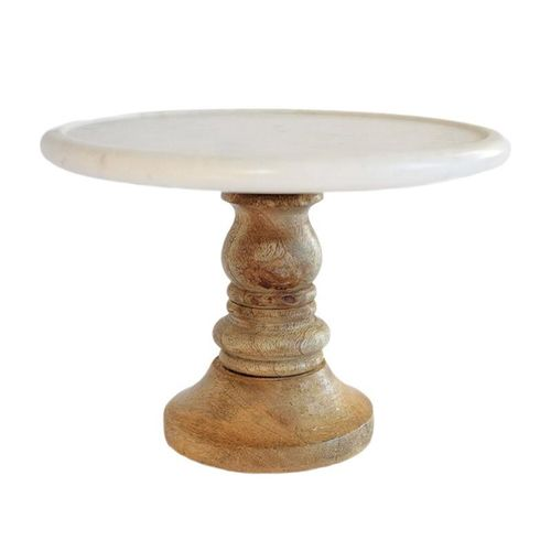 Marble and Wood Pedestal