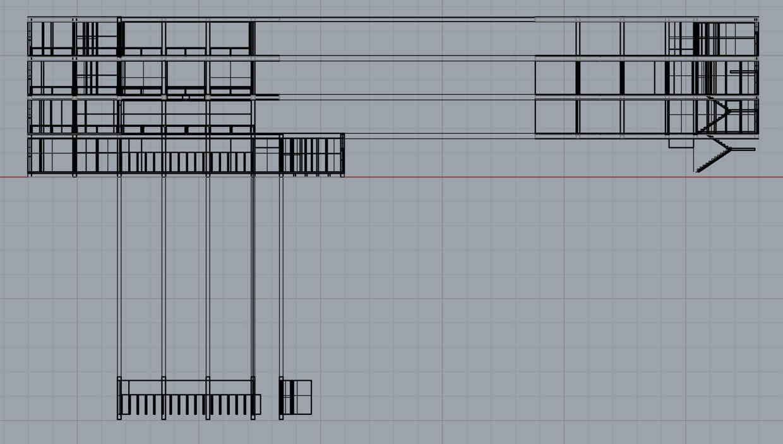Rhino Screenshot: Elevation of Exploded Drawing