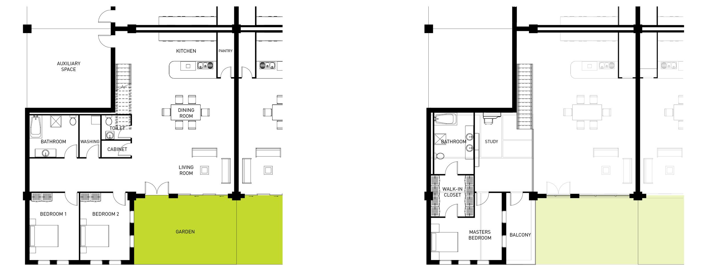 Building Type A Triple Bedroom Unit Floorplan