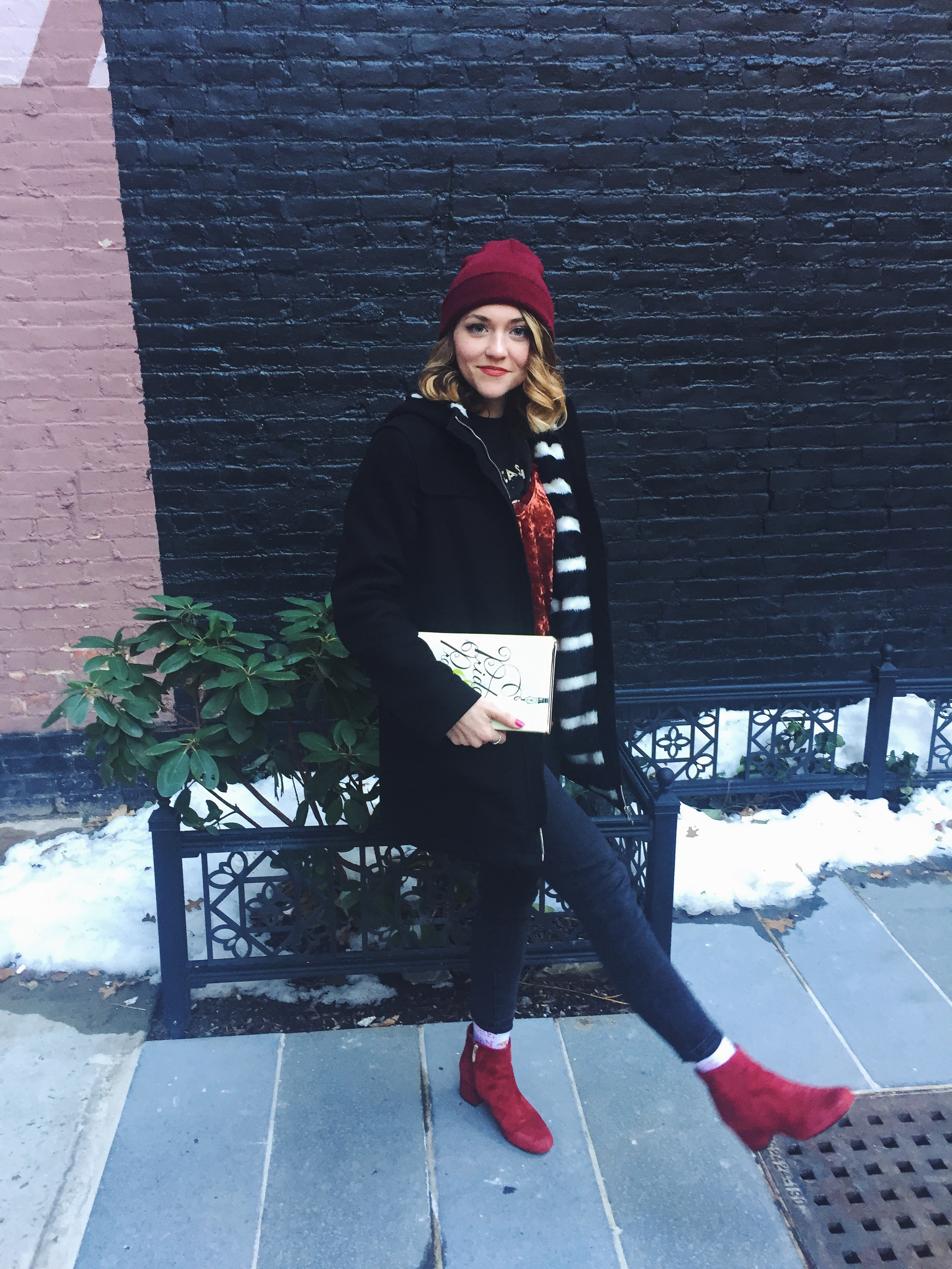 Images: Rebecca Griffin    Wearing:**  UO  beanie ; Johnny Cash Museum T-Shirt ( see similar ); Kimchi Blue  tank ; Forever 21  jeans ; Zara coat; Steve Edelman boots ( see similar ); (socks were a gift)