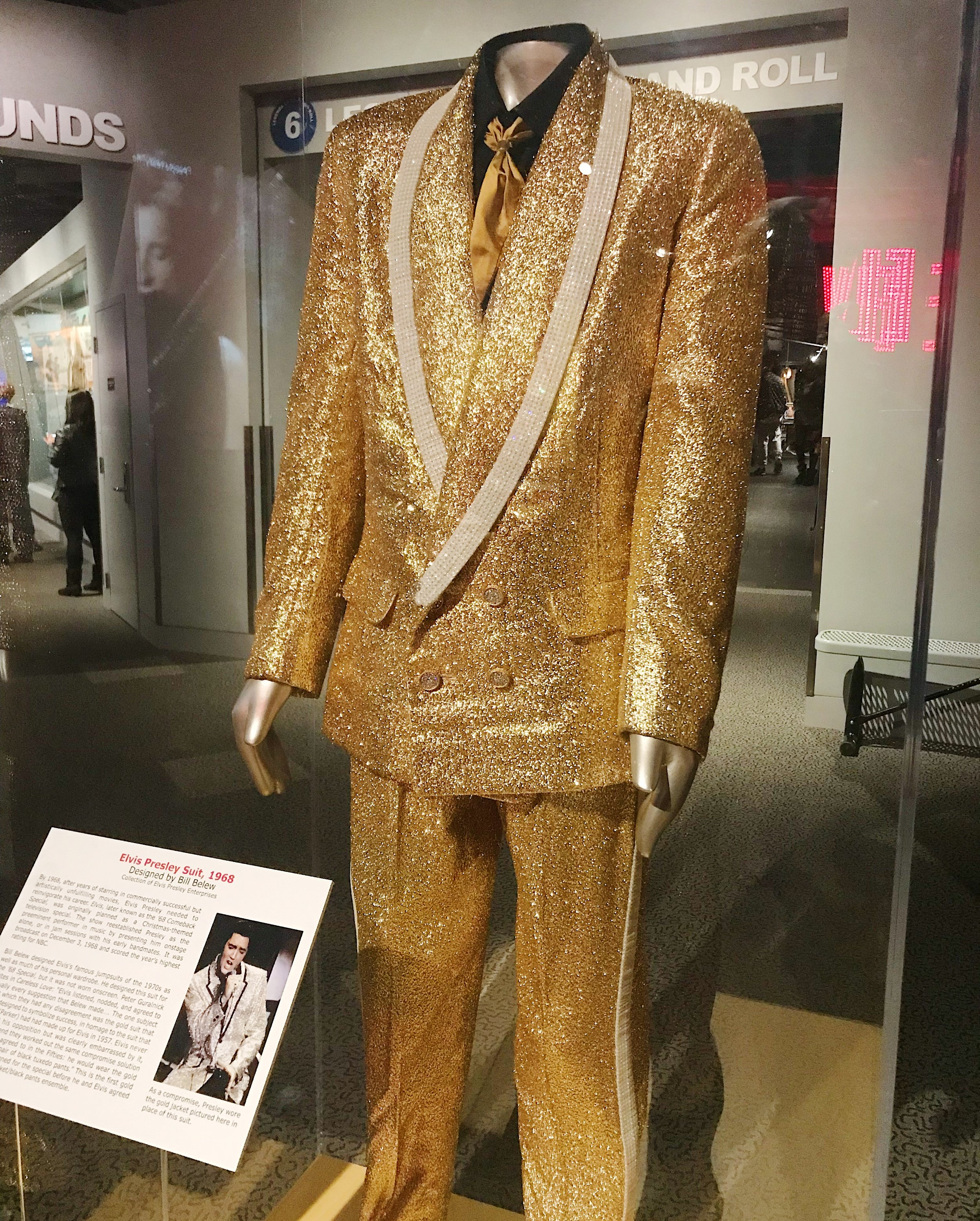 A gold glitter suit made for Elvis himself.