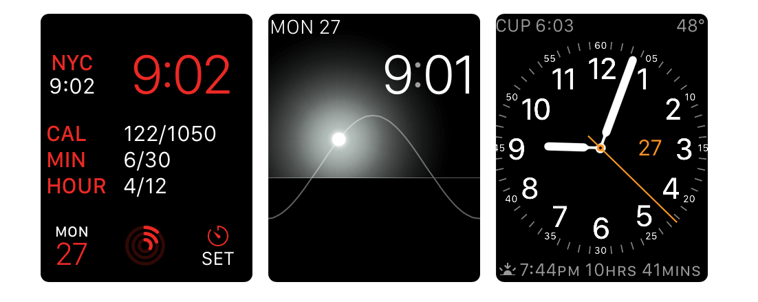 Modular, Solar, and Utility Apple Watch faces.
