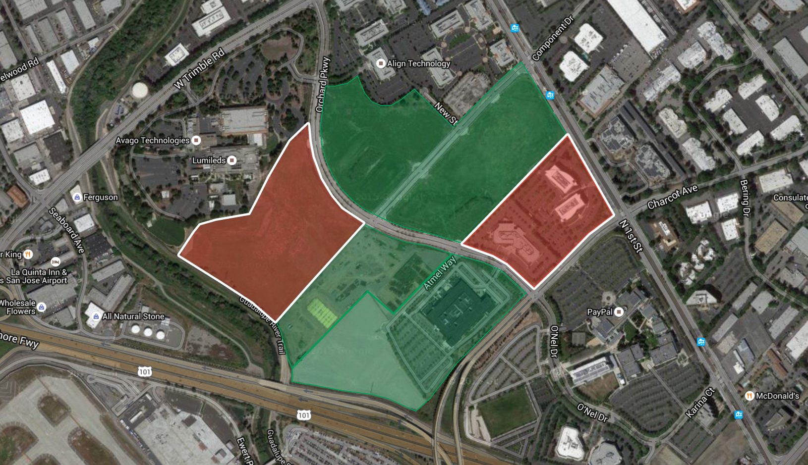 Apple's previously acquired/leased land (green) and property currently not owned by Apple (red).