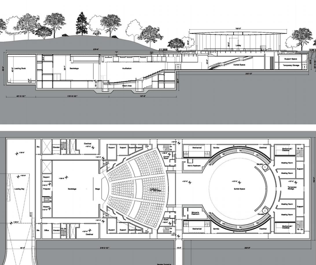 Steve Jobs Theater floor plans.