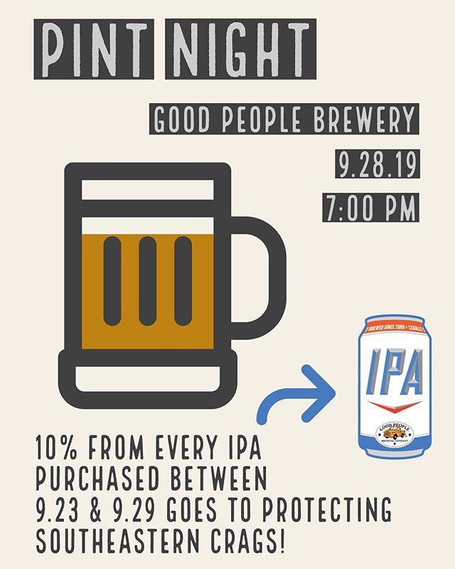 We're hosting a Pint Night at @gpbrewing on September 28th at 7:00 PM to raise funds for our friends at @seclimbers! Come by to have a few beers, talk about saving local crags, and possibly win some swag! Check out our monthly email newsletter for more info!
