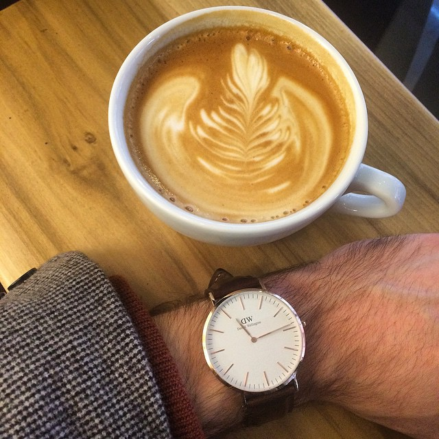 """Wearing my Daniel Wellington """"Classic Bristol"""" while drinking a latteatJoe Art of the Coffee in the UWS NYC."""