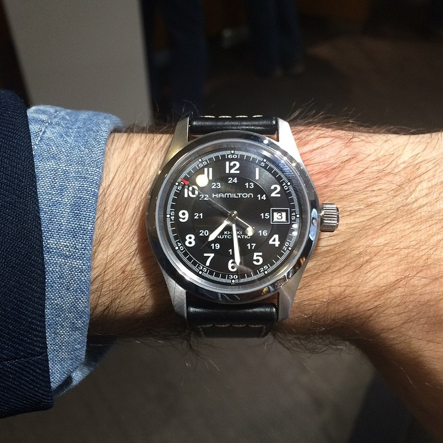 Trying on a Hamilton Field Khaki at the Tourneau store off 5th ave in NYC.