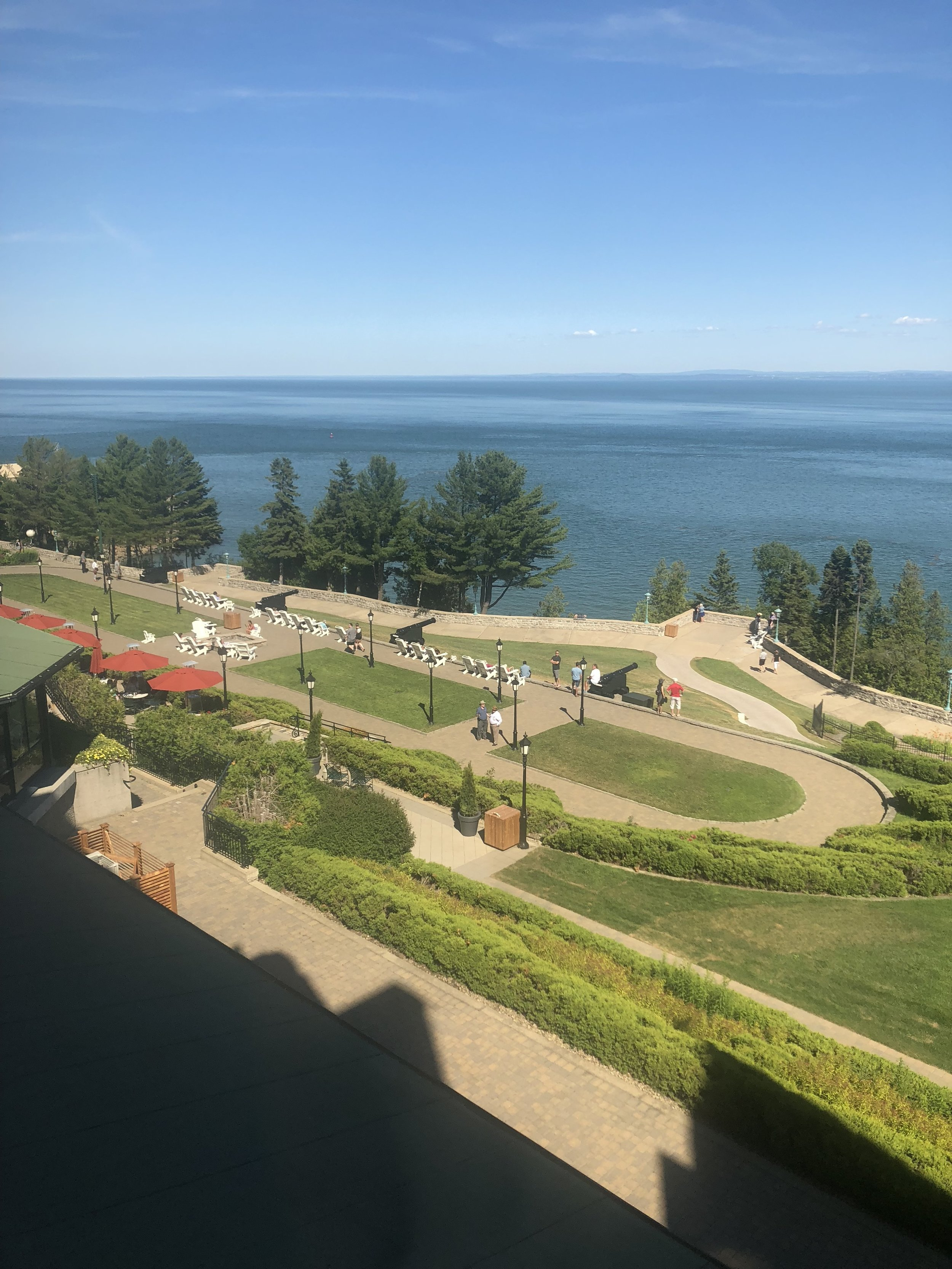 The view from my hotel room at the Fairmont Le Chateau Richelieu