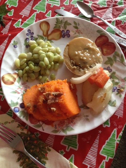 Sweet potatoes with pecans and lima beans