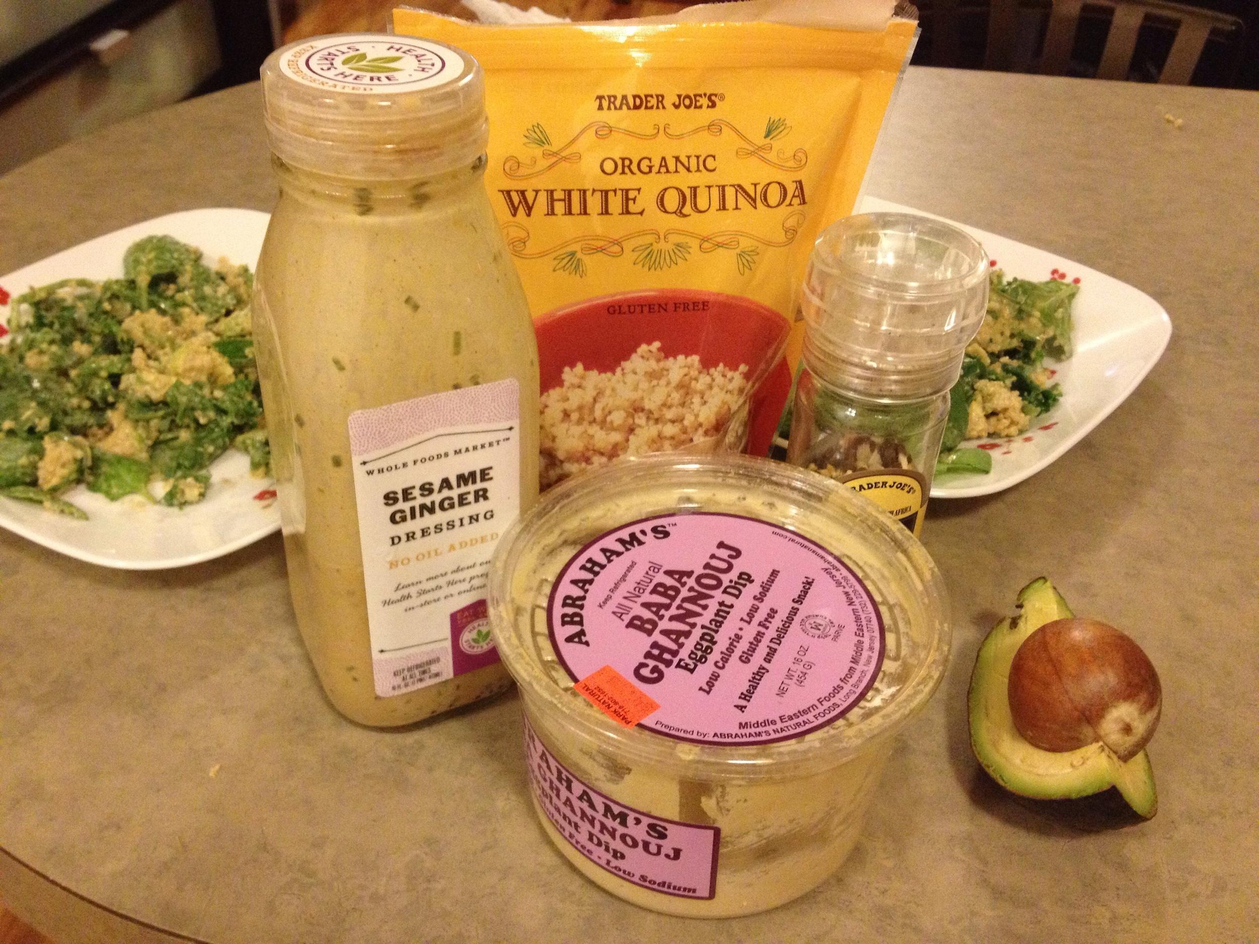 Pictured: Trader Joe's Organic White Quinoa,Cindy Kitchen's for Whole Food's Sesame Ginger Dressing, Abraham's All Natural Baba Ghannouj, Trader Joe's Lemon Pepper Seasoning