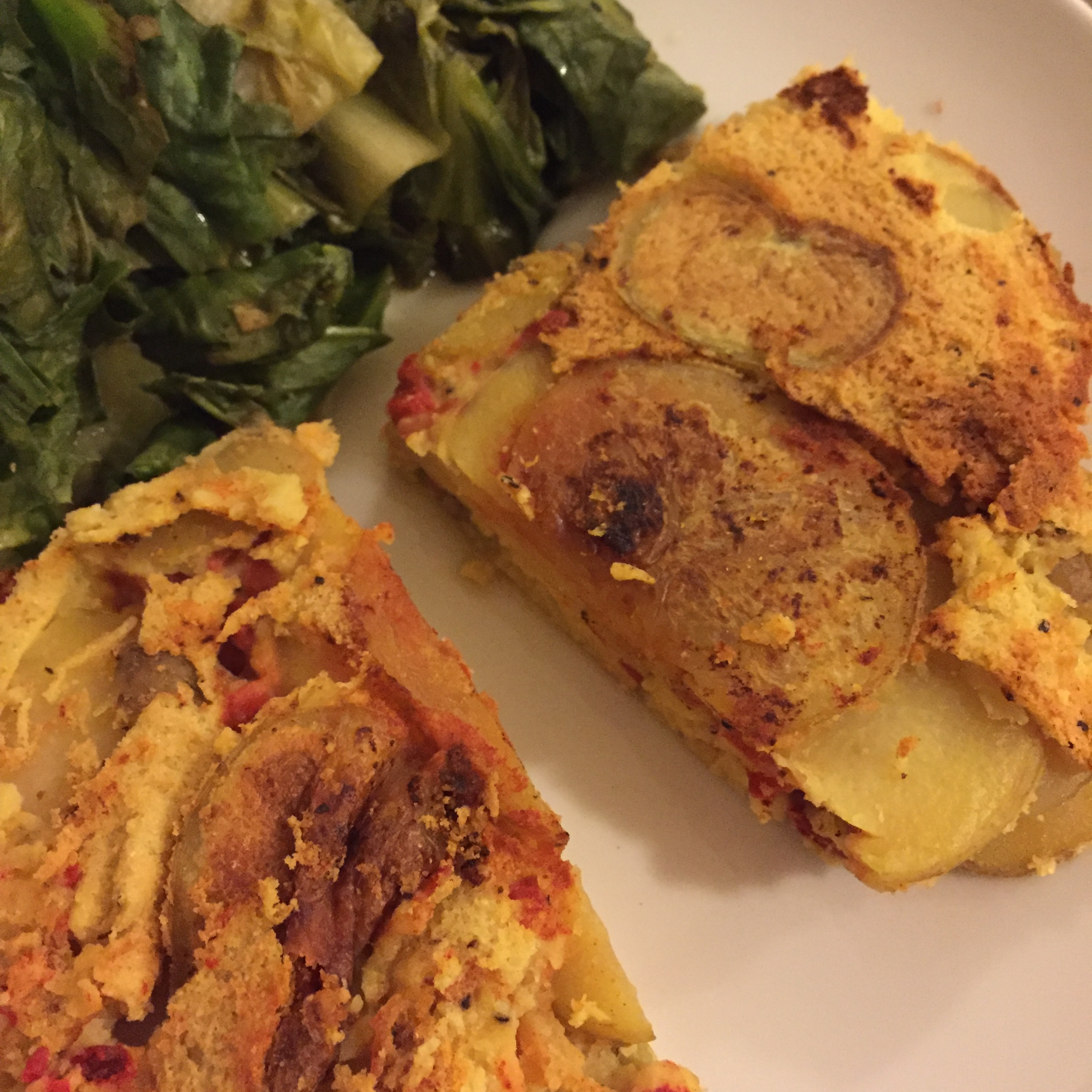 purple carrot's Potato tortilla with escarole // photo by lacey althouse