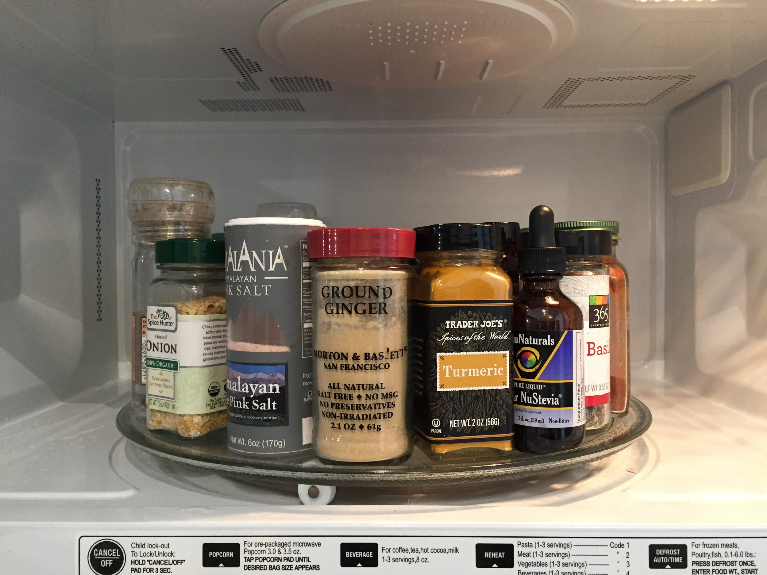 it's easy to find the right herb when the thing is in spin. Always Turn by hand and never turn on the microwave if using for spice storage.