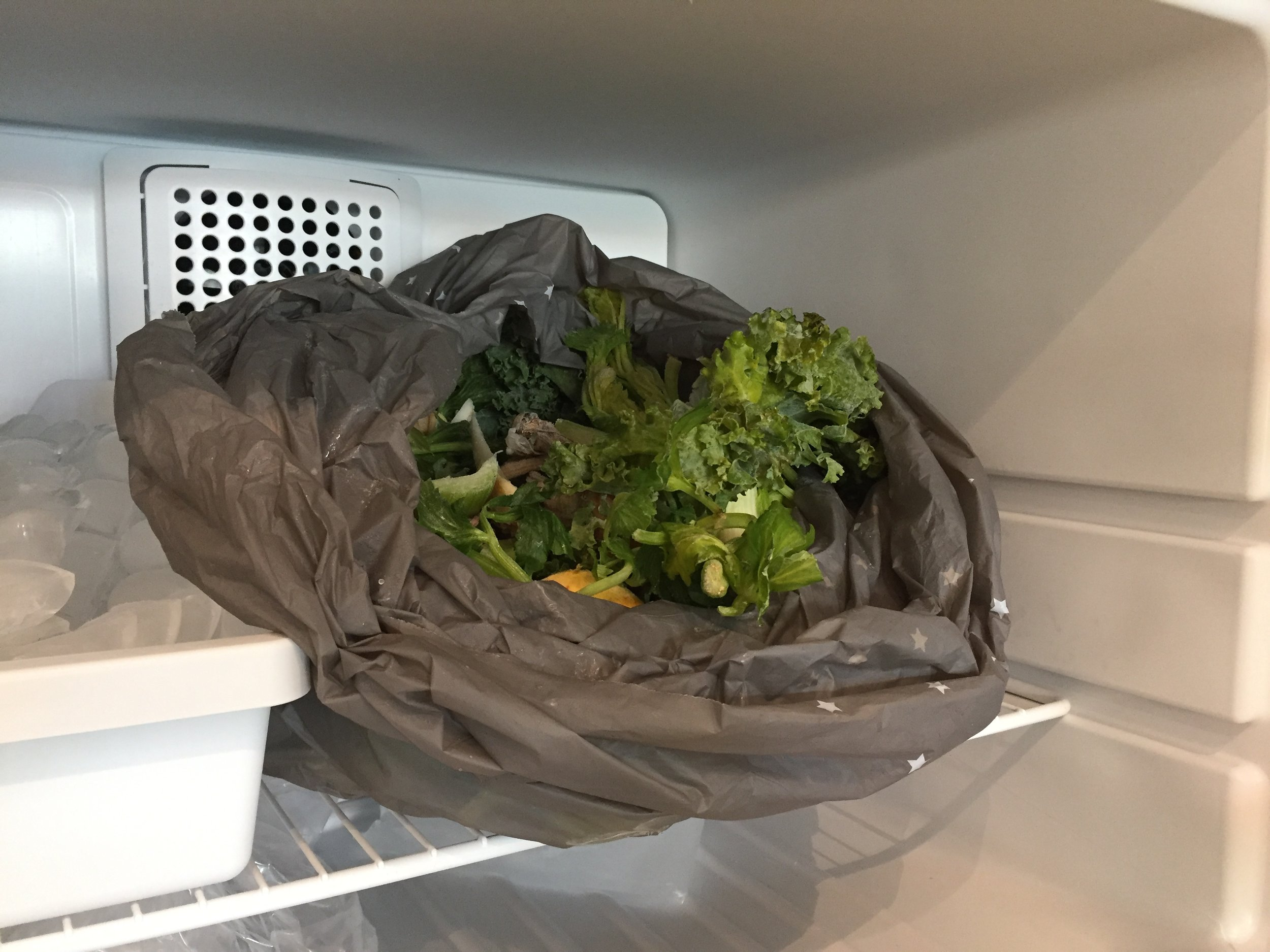 My compost does not make a pretty picture, but in the freezer, does not smell.