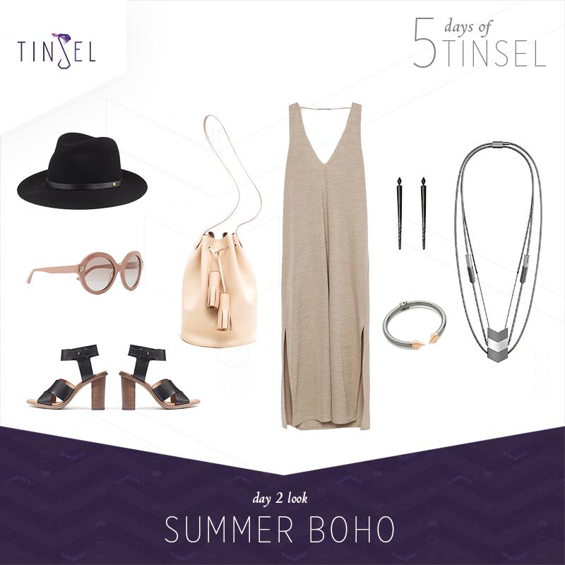Shop the look: Hat:    Rag & Bone   , Sunglasses:    Valentino   , Shoes:    Madewell   , Bucket Bag:    Building Block   , Dress:    Zara   , Earrings:    House of Harlow 1960   , Bangle:    Vita Fede   .