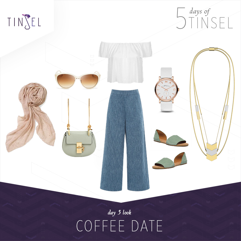 Shop the look: Blouse:    Topshop   , Culottes:    Isa Arfen   , Sandals:    Madewell   , Bag:    Chloé   , Scarf:    Stella & Dot   , Watch:    Marc by Marc Jacobs   , Sunglasses:    Tom Ford   .