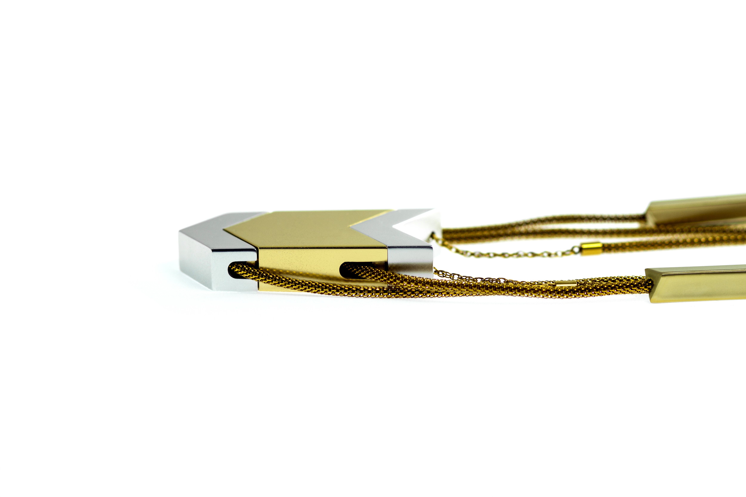 Tinsel- The Dipper Audio Necklace in Gold, Side View, tinsel.me