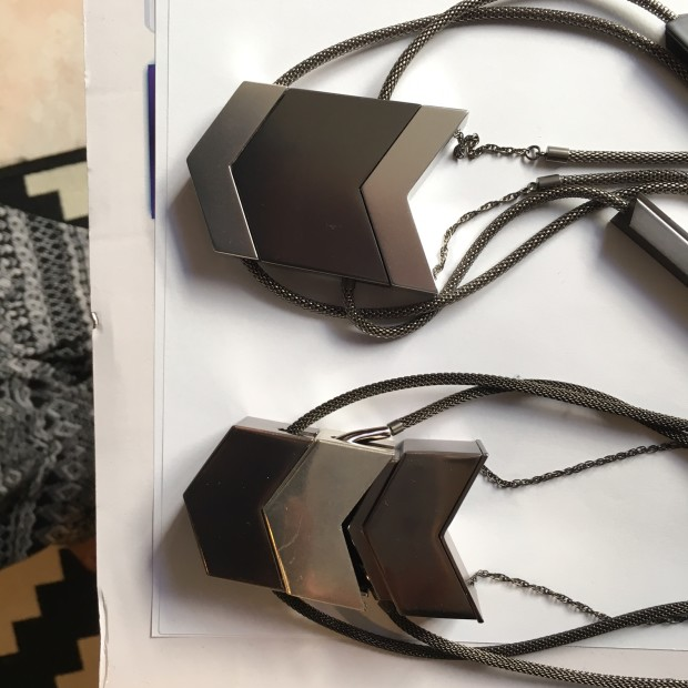 Tinsel- The Dipper Audio Necklace in Gunmetal, Old v. New Prototype, tinsel.me