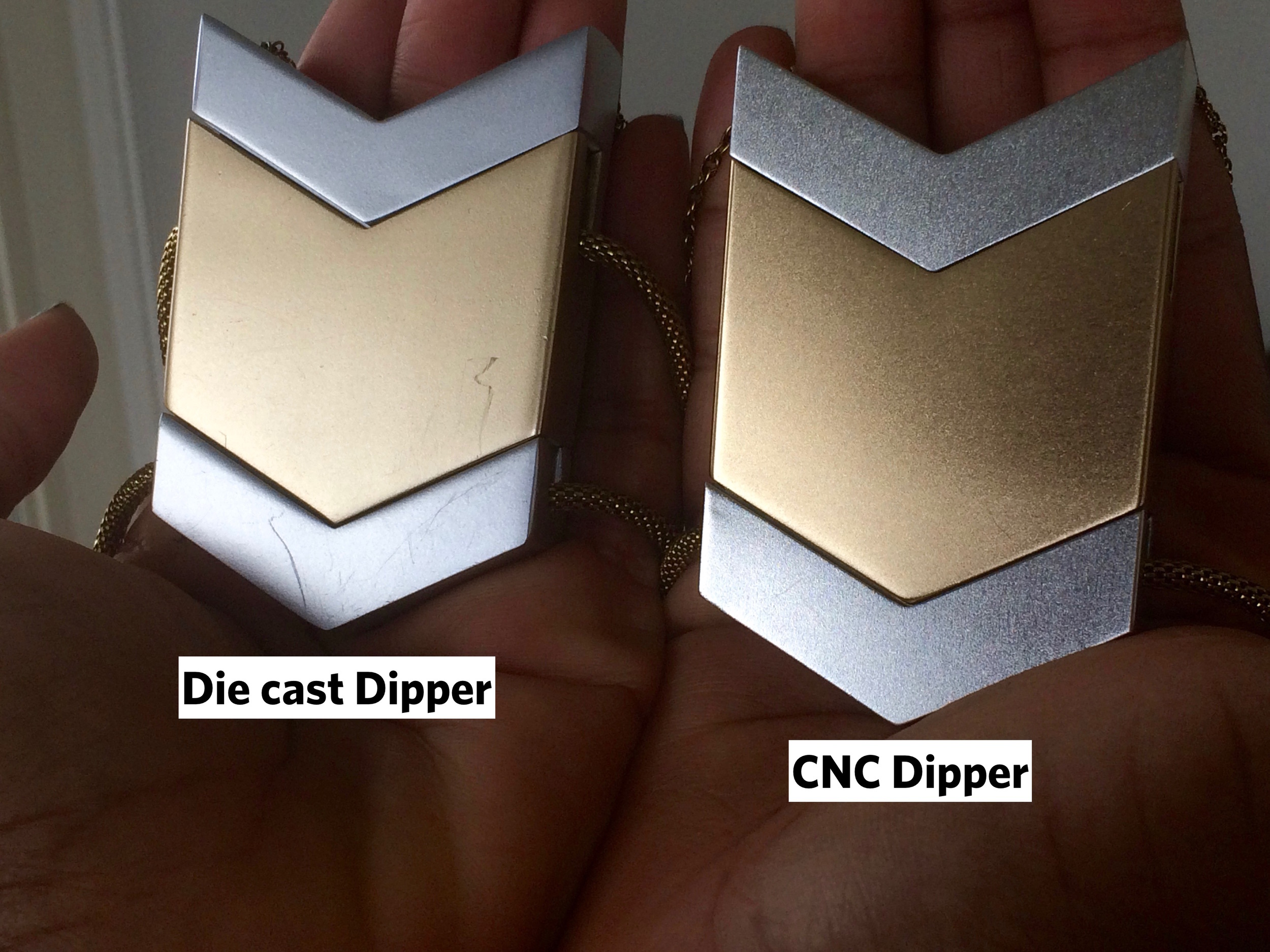 Tinsel- The Dipper Audio Necklace: CNC v. Die Cast Process, tinsel.me