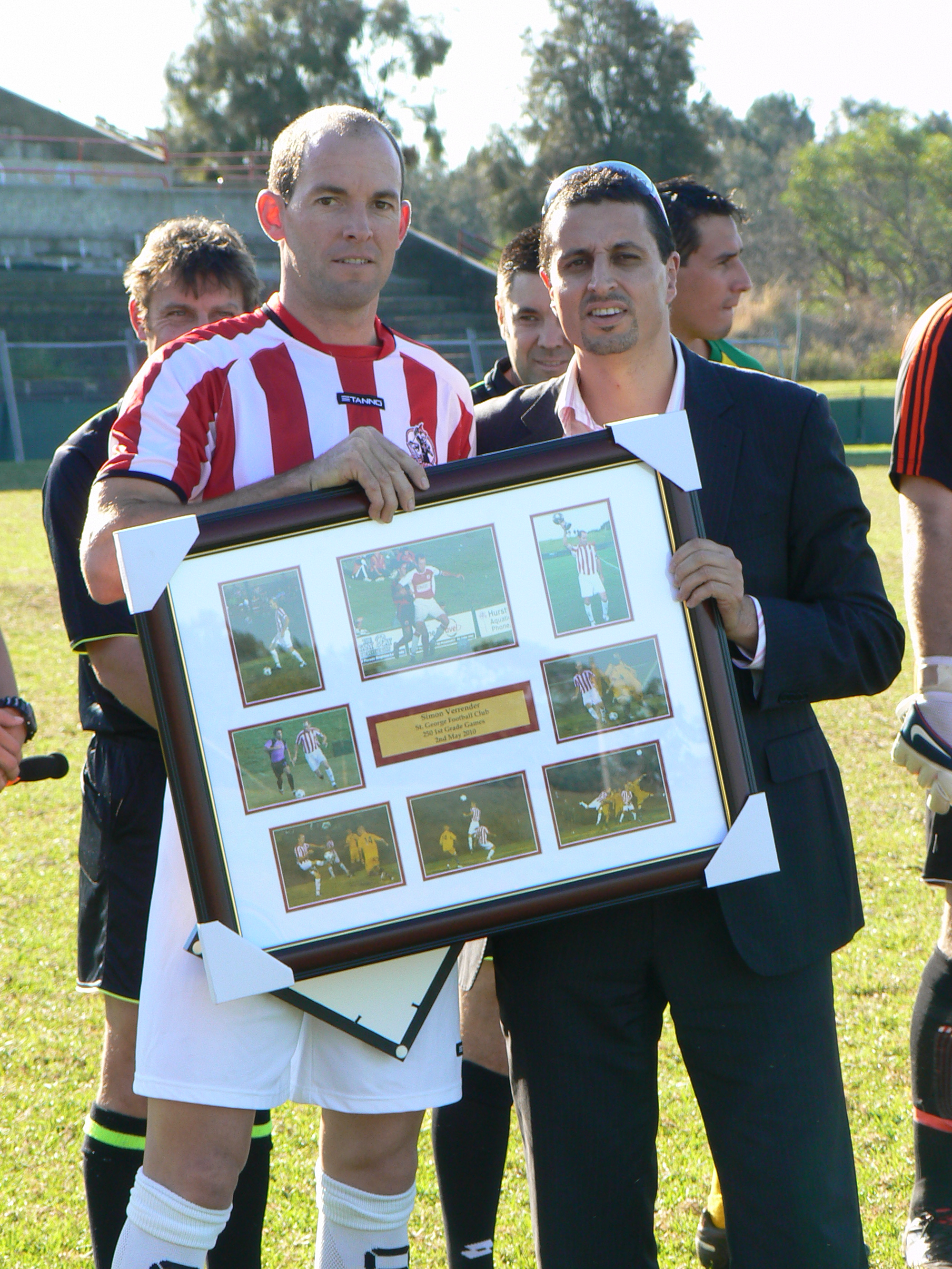 Simon Verrender and Vince Savoca on the occasion of Simon's 250th appearance in 2010